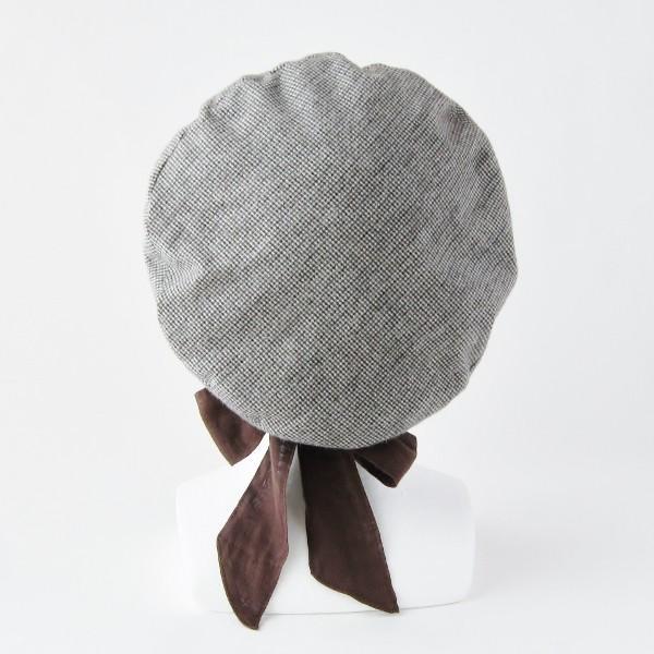 リバーシブルのリボン付ベレー帽 サイズ調整可能 焦げ茶の別珍と茶グレーチェックのネル 抗がん剤等脱毛時の帽子にも使える ケア帽子 医療用帽子|atelierf|08