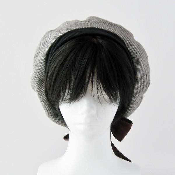 リバーシブルのリボン付ベレー帽 サイズ調整可能 焦げ茶の別珍と茶グレーチェックのネル 抗がん剤等脱毛時の帽子にも使える ケア帽子 医療用帽子|atelierf|09