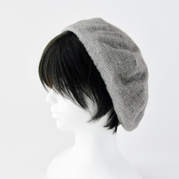 リバーシブルのリボン付ベレー帽 サイズ調整可能 焦げ茶の別珍と茶グレーチェックのネル 抗がん剤等脱毛時の帽子にも使える ケア帽子 医療用帽子|atelierf|10