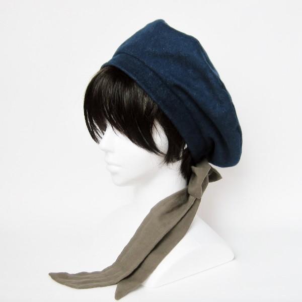 リバーシブルのリボン付ベレー帽 サイズ調整可能 紺フランネルとライトグレーに花火のダブルガーゼ 抗がん剤等脱毛時の帽子にも使える ケア帽子 医療用帽子|atelierf
