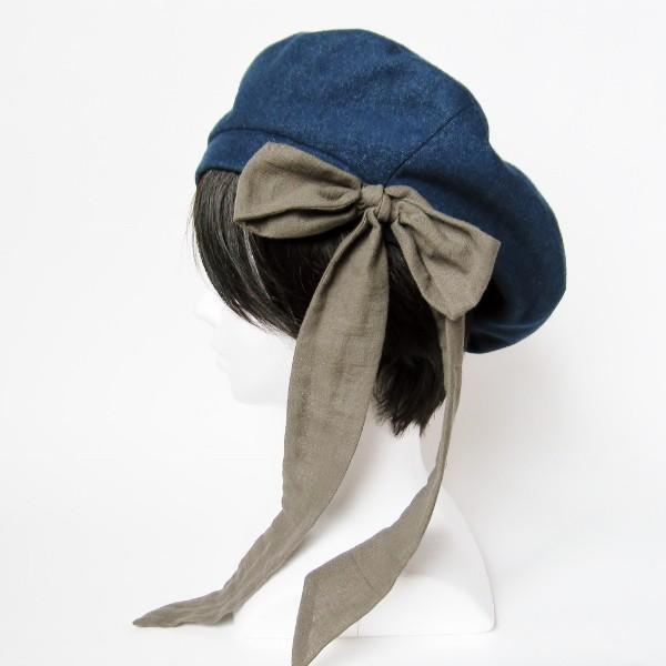 リバーシブルのリボン付ベレー帽 サイズ調整可能 紺フランネルとライトグレーに花火のダブルガーゼ 抗がん剤等脱毛時の帽子にも使える ケア帽子 医療用帽子|atelierf|02