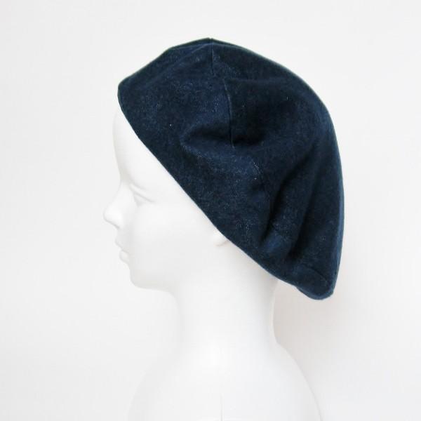 リバーシブルのリボン付ベレー帽 サイズ調整可能 紺フランネルとライトグレーに花火のダブルガーゼ 抗がん剤等脱毛時の帽子にも使える ケア帽子 医療用帽子|atelierf|11