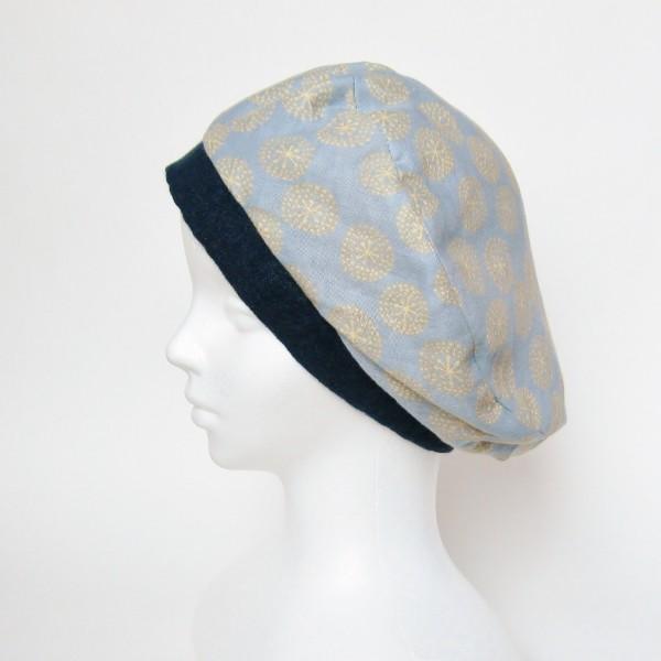 リバーシブルのリボン付ベレー帽 サイズ調整可能 紺フランネルとライトグレーに花火のダブルガーゼ 抗がん剤等脱毛時の帽子にも使える ケア帽子 医療用帽子|atelierf|12