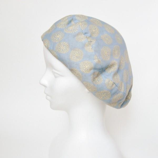 リバーシブルのリボン付ベレー帽 サイズ調整可能 紺フランネルとライトグレーに花火のダブルガーゼ 抗がん剤等脱毛時の帽子にも使える ケア帽子 医療用帽子|atelierf|13