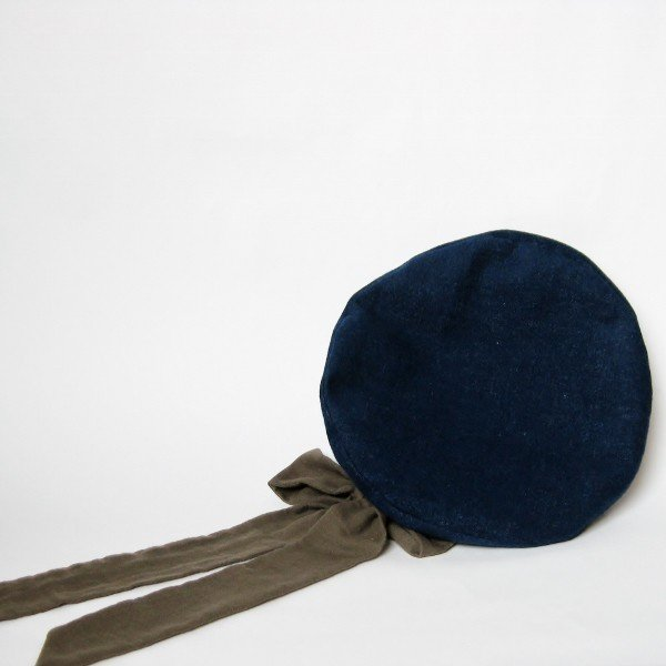 リバーシブルのリボン付ベレー帽 サイズ調整可能 紺フランネルとライトグレーに花火のダブルガーゼ 抗がん剤等脱毛時の帽子にも使える ケア帽子 医療用帽子|atelierf|14