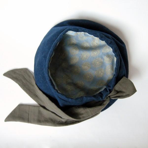 リバーシブルのリボン付ベレー帽 サイズ調整可能 紺フランネルとライトグレーに花火のダブルガーゼ 抗がん剤等脱毛時の帽子にも使える ケア帽子 医療用帽子|atelierf|15