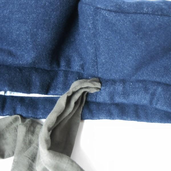 リバーシブルのリボン付ベレー帽 サイズ調整可能 紺フランネルとライトグレーに花火のダブルガーゼ 抗がん剤等脱毛時の帽子にも使える ケア帽子 医療用帽子|atelierf|16
