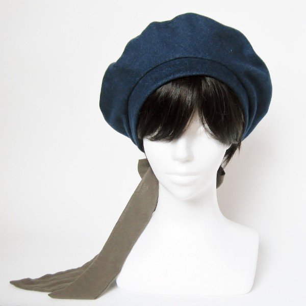 リバーシブルのリボン付ベレー帽 サイズ調整可能 紺フランネルとライトグレーに花火のダブルガーゼ 抗がん剤等脱毛時の帽子にも使える ケア帽子 医療用帽子|atelierf|03