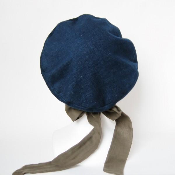 リバーシブルのリボン付ベレー帽 サイズ調整可能 紺フランネルとライトグレーに花火のダブルガーゼ 抗がん剤等脱毛時の帽子にも使える ケア帽子 医療用帽子|atelierf|04