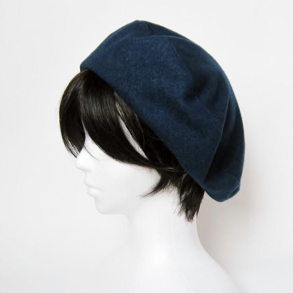 リバーシブルのリボン付ベレー帽 サイズ調整可能 紺フランネルとライトグレーに花火のダブルガーゼ 抗がん剤等脱毛時の帽子にも使える ケア帽子 医療用帽子|atelierf|05