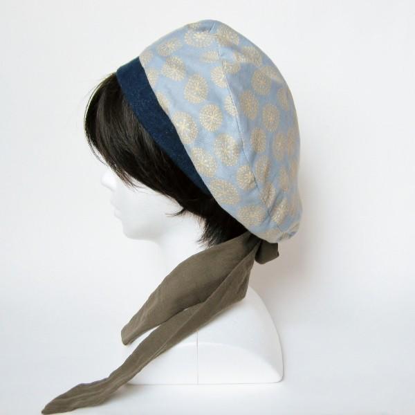 リバーシブルのリボン付ベレー帽 サイズ調整可能 紺フランネルとライトグレーに花火のダブルガーゼ 抗がん剤等脱毛時の帽子にも使える ケア帽子 医療用帽子|atelierf|06