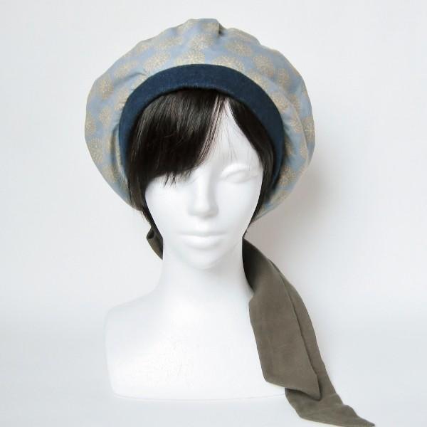 リバーシブルのリボン付ベレー帽 サイズ調整可能 紺フランネルとライトグレーに花火のダブルガーゼ 抗がん剤等脱毛時の帽子にも使える ケア帽子 医療用帽子|atelierf|07