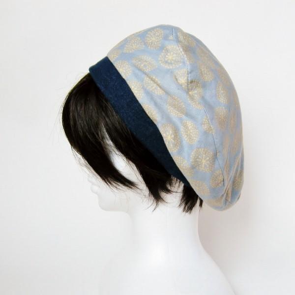 リバーシブルのリボン付ベレー帽 サイズ調整可能 紺フランネルとライトグレーに花火のダブルガーゼ 抗がん剤等脱毛時の帽子にも使える ケア帽子 医療用帽子|atelierf|08