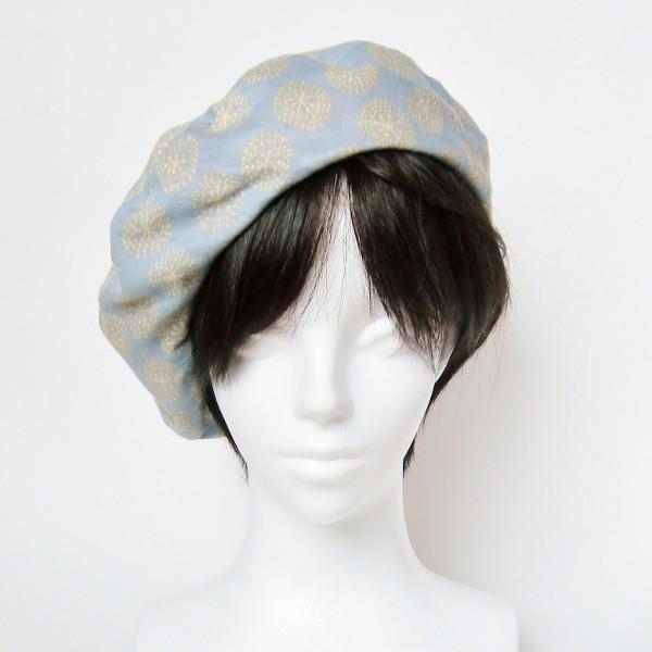 リバーシブルのリボン付ベレー帽 サイズ調整可能 紺フランネルとライトグレーに花火のダブルガーゼ 抗がん剤等脱毛時の帽子にも使える ケア帽子 医療用帽子|atelierf|09