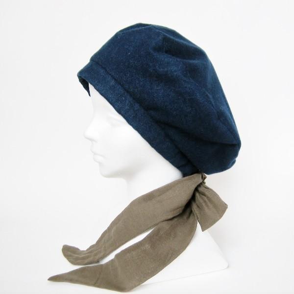 リバーシブルのリボン付ベレー帽 サイズ調整可能 紺フランネルとライトグレーに花火のダブルガーゼ 抗がん剤等脱毛時の帽子にも使える ケア帽子 医療用帽子|atelierf|10