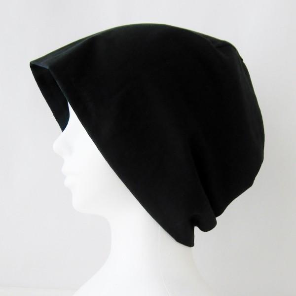抗がん剤等脱毛時の帽子 ケア帽子 医療用帽子 にも使える 夏に涼しく下地にもなる ゆったりガーゼ帽子 ブラックウォッチ 黒|atelierf|02