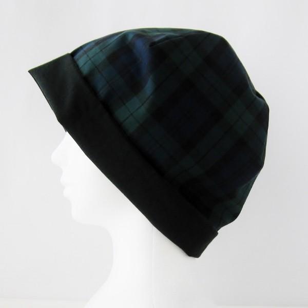 抗がん剤等脱毛時の帽子 ケア帽子 医療用帽子 にも使える 夏に涼しく下地にもなる ゆったりガーゼ帽子 ブラックウォッチ 黒|atelierf|03