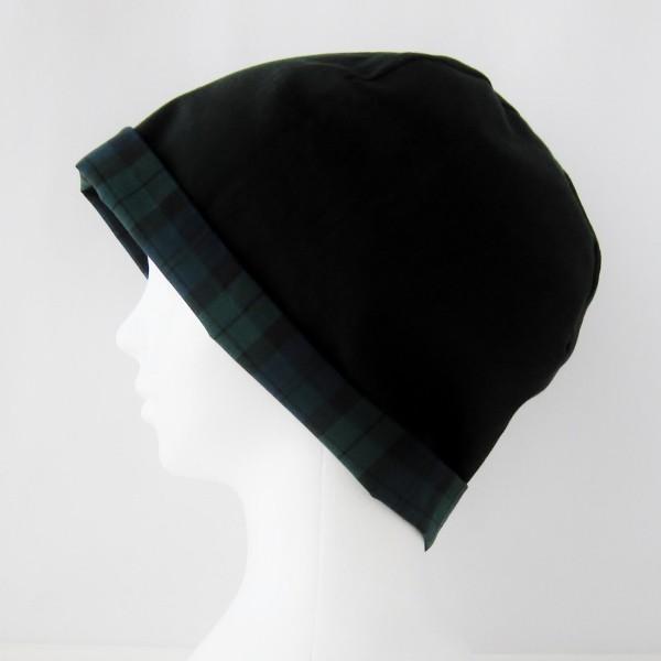 抗がん剤等脱毛時の帽子 ケア帽子 医療用帽子 にも使える 夏に涼しく下地にもなる ゆったりガーゼ帽子 ブラックウォッチ 黒|atelierf|04