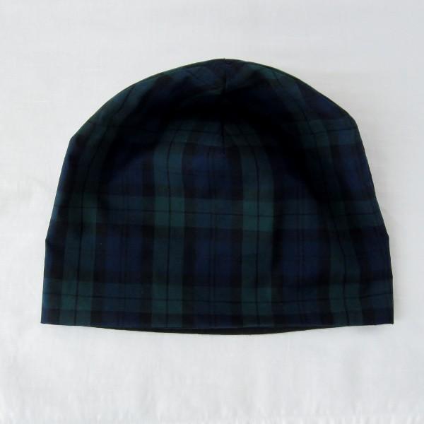抗がん剤等脱毛時の帽子 ケア帽子 医療用帽子 にも使える 夏に涼しく下地にもなる ゆったりガーゼ帽子 ブラックウォッチ 黒|atelierf|05