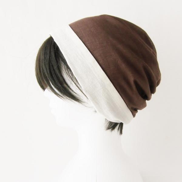 ターバン風帽子 茶 生成 夏用 ガーゼ リバーシブル 医療用帽子 抗がん剤帽子 脱毛時の帽子 ケア帽子にも atelierf