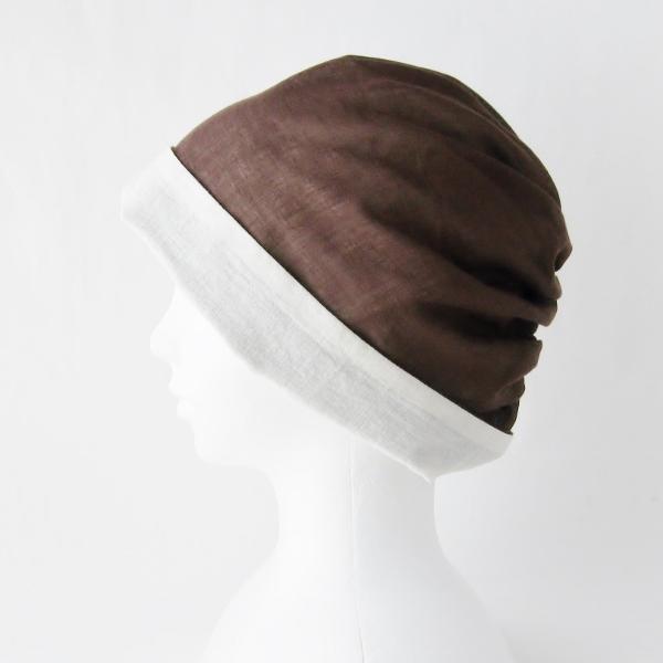 ターバン風帽子 茶 生成 夏用 ガーゼ リバーシブル 医療用帽子 抗がん剤帽子 脱毛時の帽子 ケア帽子にも atelierf 12