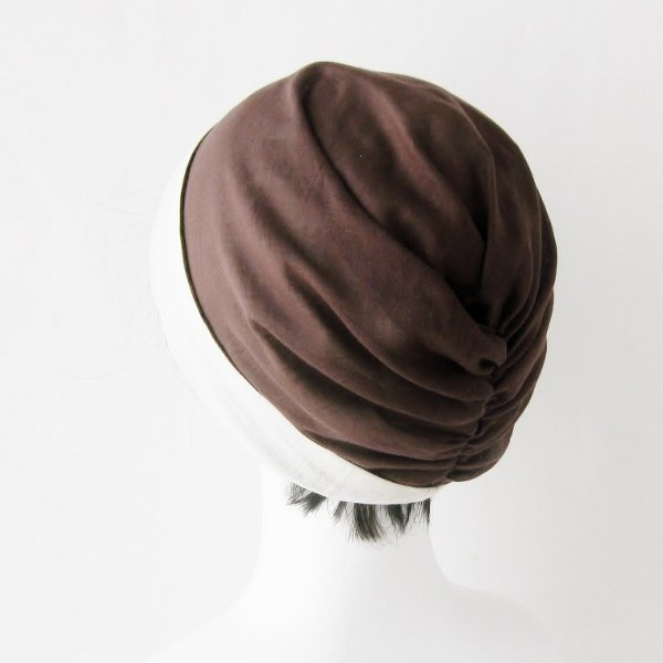 ターバン風帽子 茶 生成 夏用 ガーゼ リバーシブル 医療用帽子 抗がん剤帽子 脱毛時の帽子 ケア帽子にも atelierf 05
