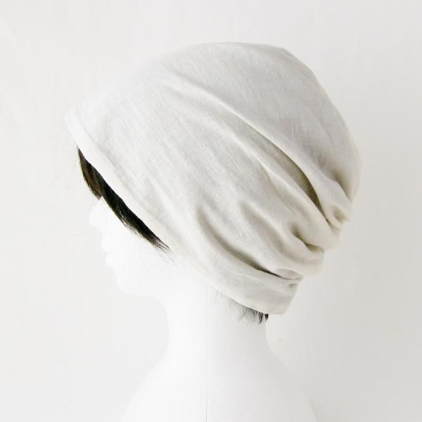 ターバン風帽子 茶 生成 夏用 ガーゼ リバーシブル 医療用帽子 抗がん剤帽子 脱毛時の帽子 ケア帽子にも atelierf 06