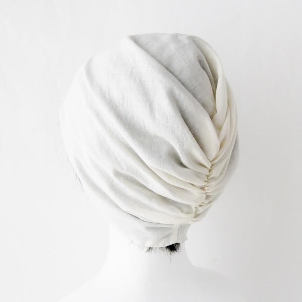 ターバン風帽子 茶 生成 夏用 ガーゼ リバーシブル 医療用帽子 抗がん剤帽子 脱毛時の帽子 ケア帽子にも atelierf 07
