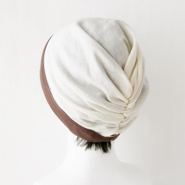 ターバン風帽子 茶 生成 夏用 ガーゼ リバーシブル 医療用帽子 抗がん剤帽子 脱毛時の帽子 ケア帽子にも atelierf 10