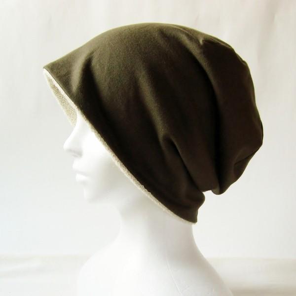 医療用帽子 抗がん剤帽子 脱毛時の帽子 ケア帽子 にも使える ゆるいリバーシブル帽子 カーキ 生成りタオル atelierf