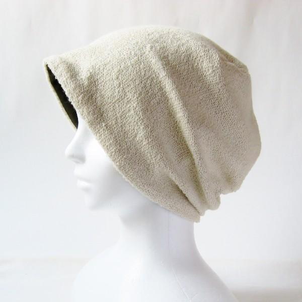 医療用帽子 抗がん剤帽子 脱毛時の帽子 ケア帽子 にも使える ゆるいリバーシブル帽子 カーキ 生成りタオル atelierf 02