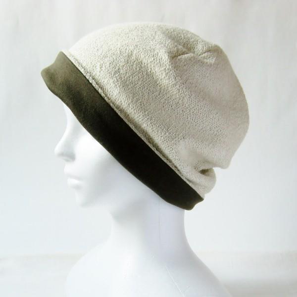 医療用帽子 抗がん剤帽子 脱毛時の帽子 ケア帽子 にも使える ゆるいリバーシブル帽子 カーキ 生成りタオル atelierf 04