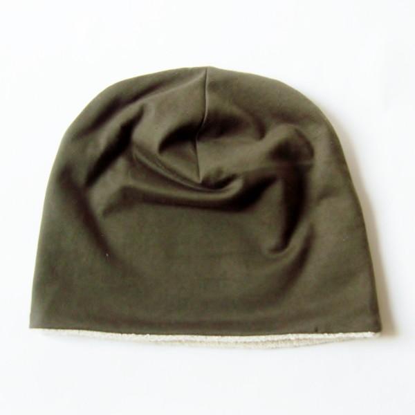 医療用帽子 抗がん剤帽子 脱毛時の帽子 ケア帽子 にも使える ゆるいリバーシブル帽子 カーキ 生成りタオル atelierf 05