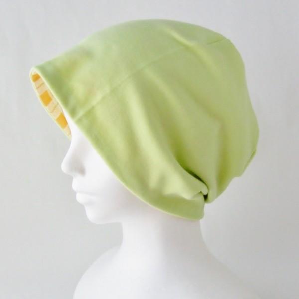 医療用帽子 抗がん剤帽子 脱毛時の帽子 ケア帽子 にも使える ゆるいリバーシブル帽子 オレンジチェック 若草グリーン|atelierf|02