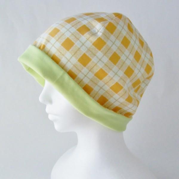 医療用帽子 抗がん剤帽子 脱毛時の帽子 ケア帽子 にも使える ゆるいリバーシブル帽子 オレンジチェック 若草グリーン|atelierf|03