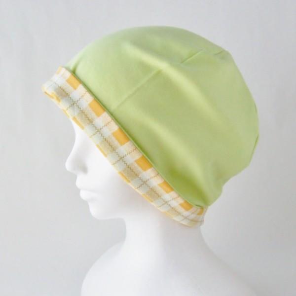 医療用帽子 抗がん剤帽子 脱毛時の帽子 ケア帽子 にも使える ゆるいリバーシブル帽子 オレンジチェック 若草グリーン|atelierf|04