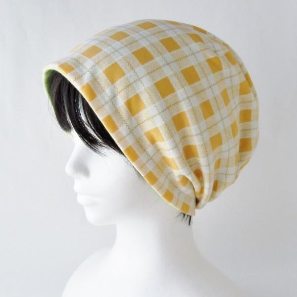 医療用帽子 抗がん剤帽子 脱毛時の帽子 ケア帽子 にも使える ゆるいリバーシブル帽子 オレンジチェック 若草グリーン|atelierf|05