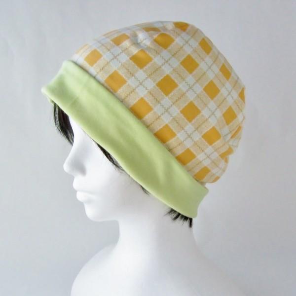 医療用帽子 抗がん剤帽子 脱毛時の帽子 ケア帽子 にも使える ゆるいリバーシブル帽子 オレンジチェック 若草グリーン|atelierf|06