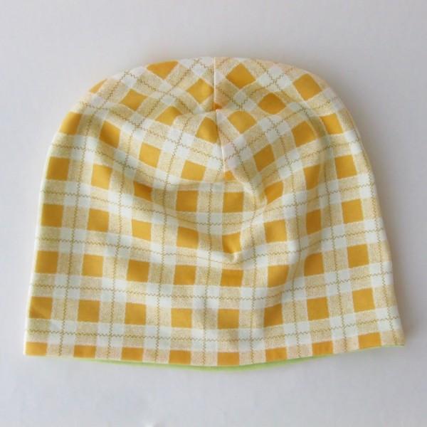 医療用帽子 抗がん剤帽子 脱毛時の帽子 ケア帽子 にも使える ゆるいリバーシブル帽子 オレンジチェック 若草グリーン|atelierf|07