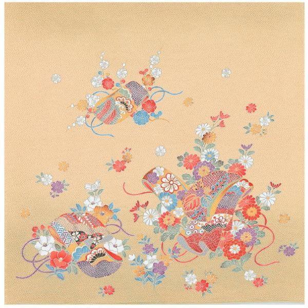 ■送料無料■宮井 ふろしき 絹75cm幅 雅の小袖 ベージュ 11-5264-45a1b