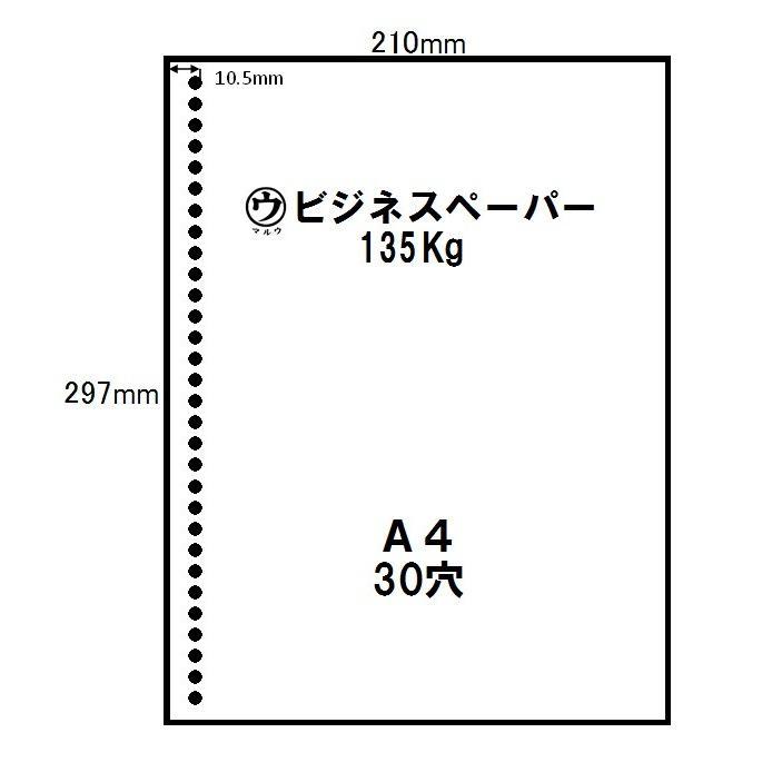 マルウ ビジネスペーパー 135Kg A4 250枚入り 2穴 30穴 上質紙/印刷用紙/レーザー/コピー/インクジェット対応|atiku-h|03