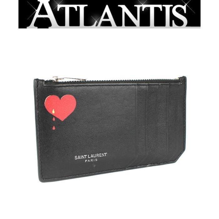 美品 サンローラン パリ SAINT LAURENT PARIS カードケース付き コインケース 小銭入れ ハート 黒