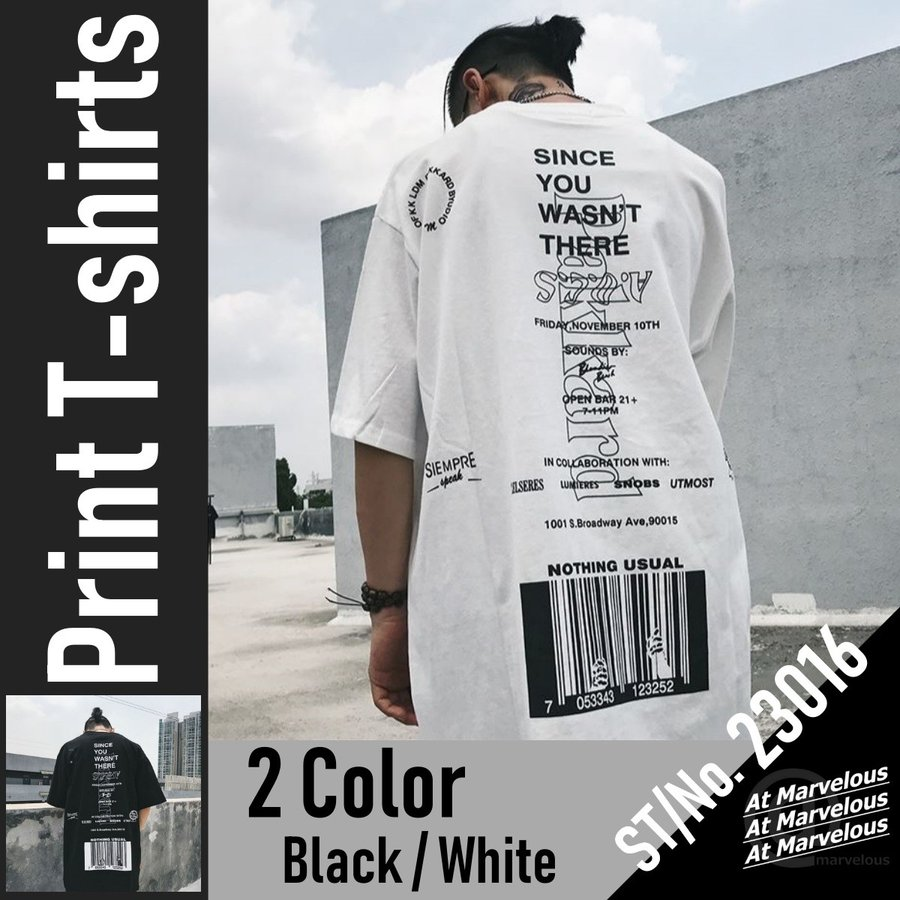 バーコードプリント ビッグTシャツ / メンズ 韓国ファッション ストリート ビッグトップス|atmarvelous