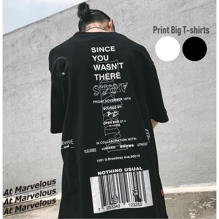 バーコードプリント ビッグTシャツ / メンズ 韓国ファッション ストリート ビッグトップス|atmarvelous|02