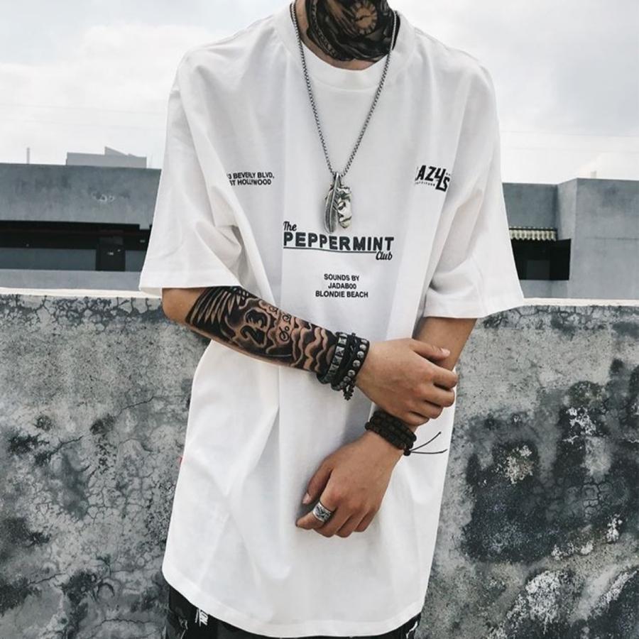 バーコードプリント ビッグTシャツ / メンズ 韓国ファッション ストリート ビッグトップス|atmarvelous|12