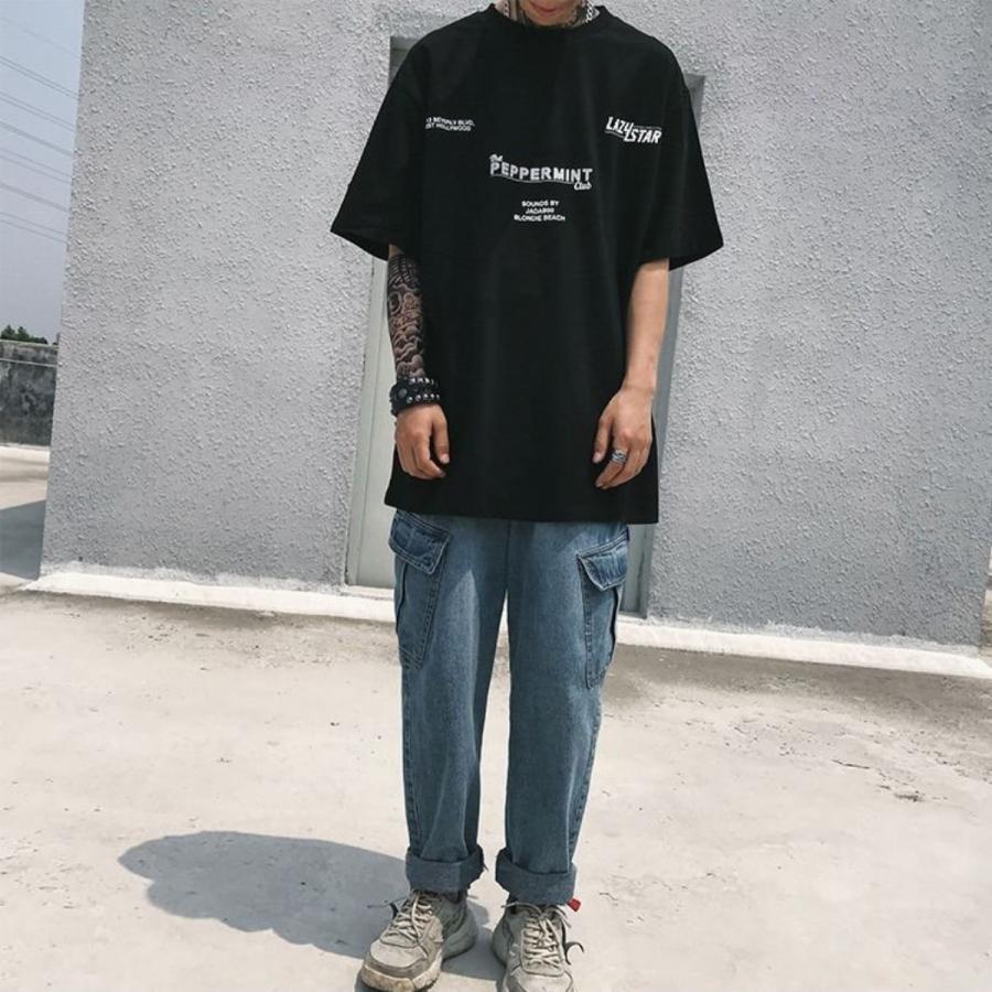 バーコードプリント ビッグTシャツ / メンズ 韓国ファッション ストリート ビッグトップス|atmarvelous|04