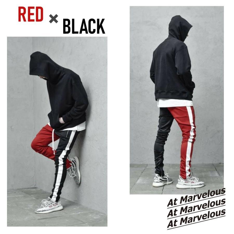 ジップ使い アシメカラー ラインパンツ メンズ ストリートファッション おしゃれ ジャージ|atmarvelous|04