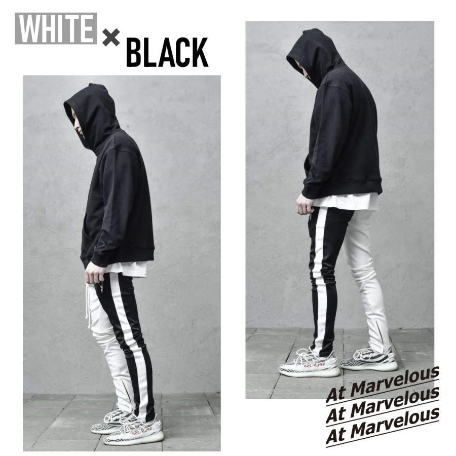 ジップ使い アシメカラー ラインパンツ メンズ ストリートファッション おしゃれ ジャージ|atmarvelous|06