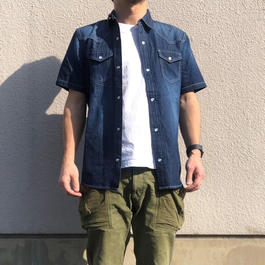 デニムシャツ メンズ ライトオンスデニム 綿 半袖 7分袖カジュアル アメカジ ウエスタンシャツ トップス|atmarvelous|04