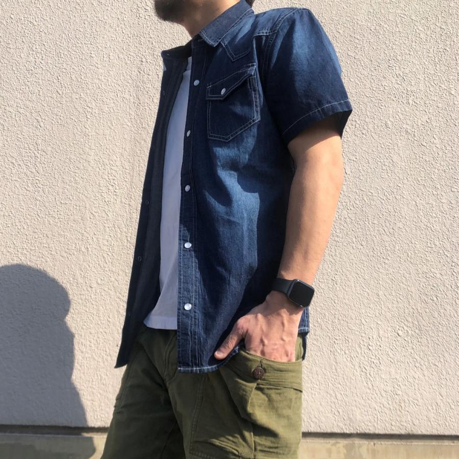 デニムシャツ メンズ ライトオンスデニム 綿 半袖 7分袖カジュアル アメカジ ウエスタンシャツ トップス|atmarvelous|05